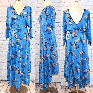 Diane Von Furstenberg hi low blue silk dress